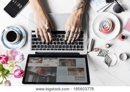 Woman Using Laptop Surfing Online Website
