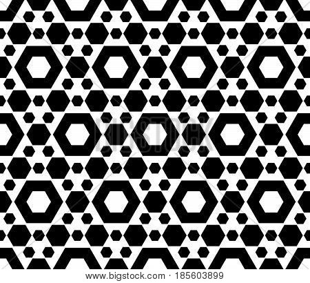 Vector monochrome seamless pattern, repeat geometric texture, black & white hexagonal grid, abstract modern pattern. Background with simple figures, hexagons. Design for prints, decor, cloth, fabric