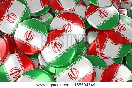 Iran Badges Background - Pile Of Iranian Flag Buttons.