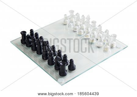 Chess game maden of glass