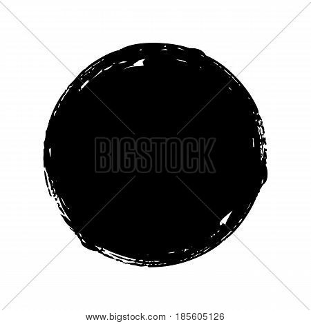 Black round button. Hand painted ink blob. Hand drawn grunge circle. Graphic design element for web, corporate identity, cards, prints etc. Vector illustration