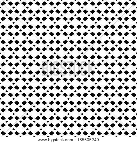 Vector monochrome mesh texture, geometric seamless pattern in black & white colors. Illustration with simple geometrical figures, staggered rhombuses. Stylish minimalist design for decor, textile, web