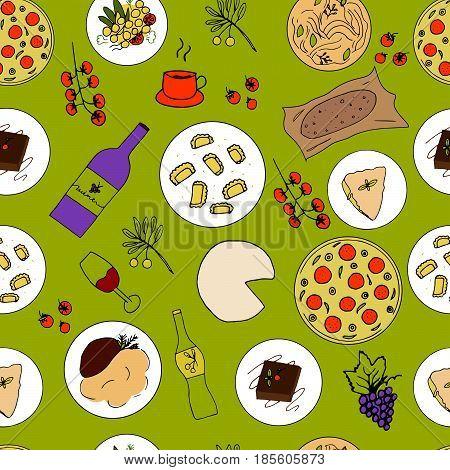 Italian food hand drawn seamless pattern. Italian cuisine menu design. Colorful vector illustration with pizza pasta risotto ossobuco orecchiette tiramisu piedmontese lazagna mozzarella focaccia bread olive oil grape espresso wine.