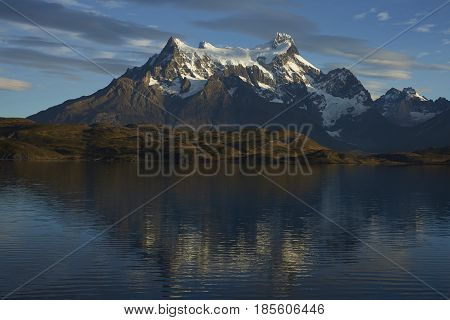 Ice covered peaks of Cerro Paine Grande in Torres del Paine National Park in southern Chile