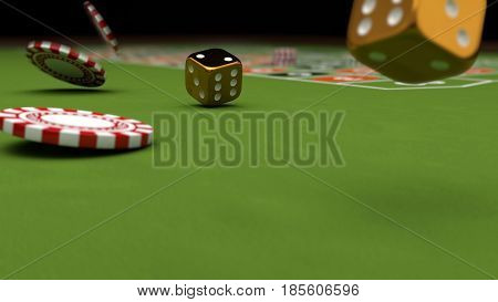 Casino theme playing chips and gold dices on a gaming table 3d illustration.