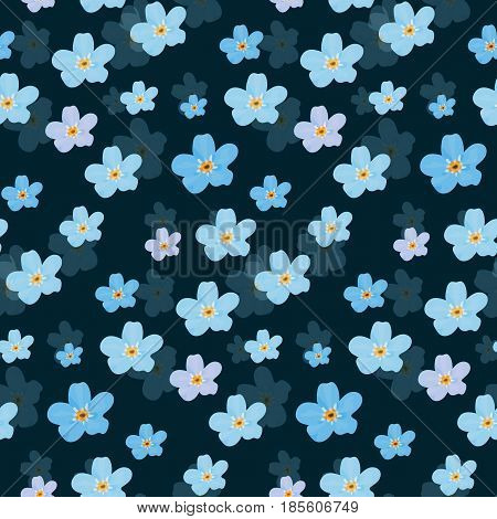 Vector floral seamless pattern. Illustration of little cute colored flowers. Blue and violet florets on the dark background