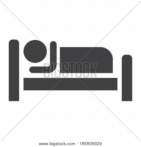 Person in bed and Hotel solid icon, Travel and tourism, motel vector graphics, a linear pattern on a white background, eps 10.