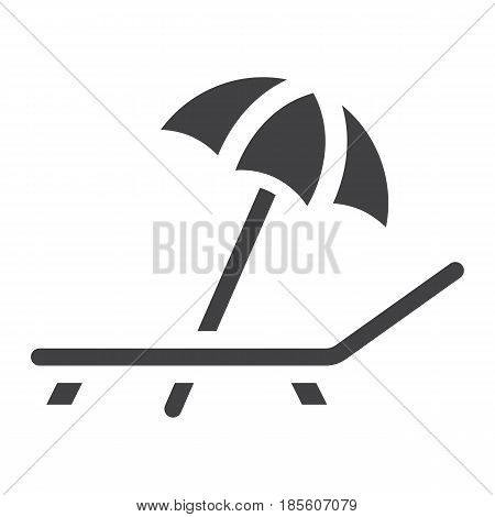 Beach umbrella with deckchair solid icon, Travel and tourism, vector graphics, a filled pattern on a white background, eps 10.