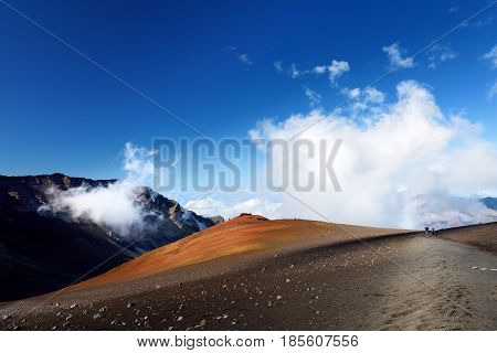 Stunning Landscape Of Haleakala Volcano Crater Taken From The Sliding Sands Trail, Maui, Hawaii