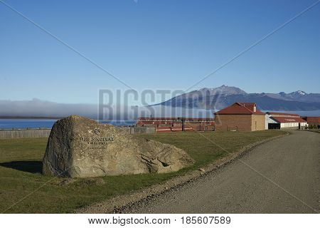 PUERTO NATALES, CHILE - APRIL 15, 2017: Entrance to the historic buildings of a former meat refrigeration plant that have been renovated and converted into a luxury hotel.