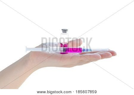 Syringe With Ampoule In Woman Hand Isolated On White Background
