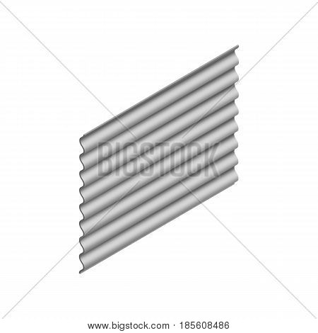 Wave slate sheet isolated on white background vertical arrangement. Element of the design of building materials. 3D isometric style vector illustration.