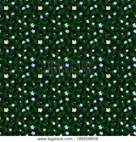 Vector floral seamless pattern. Illustration of little cute colored flowers. Blue pink and yellow florets on the dark background with grass elements