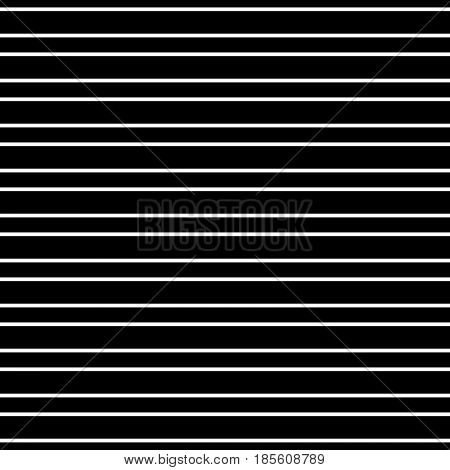 Vector minimalist seamless pattern, simple monochrome texture with white horizontal thin parallel lines on black background. Square repeat illustration. Design element for prints, home decor, pillows