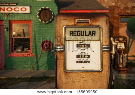 Commerce Oklahoma - July 7 2014: Detail of a gas pump in an old gas Conoco Gas Station along the historic Route 66 in the town of Commerce Oklahoma USA.