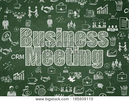 Finance concept: Chalk White text Business Meeting on School board background with  Hand Drawn Business Icons, School Board