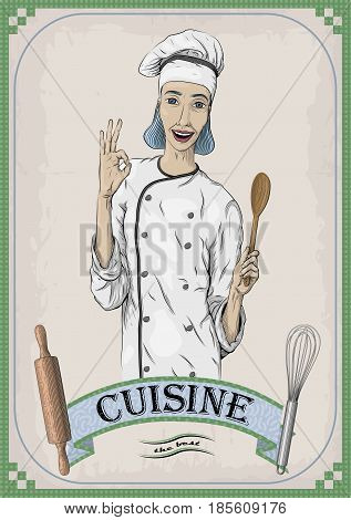 Woman caucasian young cook chef worker in chef's jacket cap with happy smile portrait. Vector close-up vertical beautiful colorful black linear illustration isolated beige background with inscription