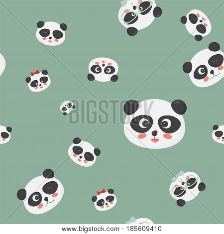 Vector seamless pattern: panda bear faces on a green background, panda faces with different emotions. Great for textile, fabric, cloth prints, wallpapers or wrapping template.