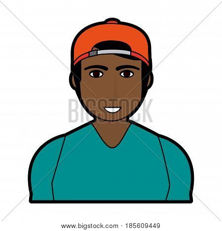 handsome man with muscular body wearing backwards baseball hat icon image vector illustration design