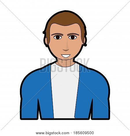 handsome man with muscular body wearing sweater icon image vector illustration design