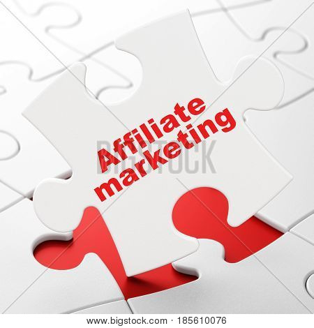 Finance concept: Affiliate Marketing on White puzzle pieces background, 3D rendering