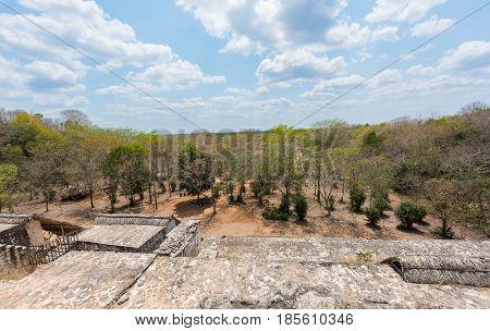 Ek Balam, the Mayan Archaeological Site from the Acropolis. Maya Ruins, Yucatan Peninsula, Mexico