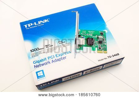 Russia Izhevsk - April 26 2017:Gigabit PCI Express Network Adapter TP-LINK TG-3468. Modern technology.