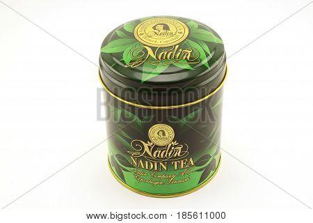 Russia Izhevsk - April 26 2017:Nadin tea. Green Chinese big leaf tea.