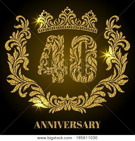 Anniversary Of 40 Years. Digits, Frame And Crown Made In Swirls