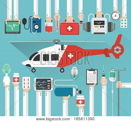 Ambulance helicopter medical concept flat design.Vector illustration