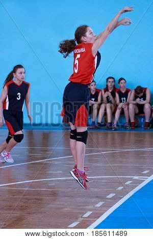 Russia Izhevsk - April 26 2017:Female basketball team playing game. Free throw.