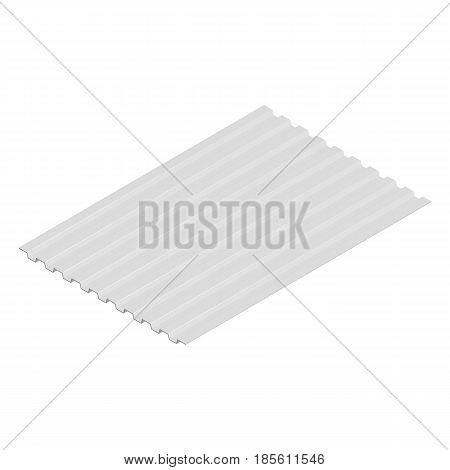 Sheet steel profile isolated on white background horizontal arrangement. Element of the design of building materials. 3D isometric style vector illustration.