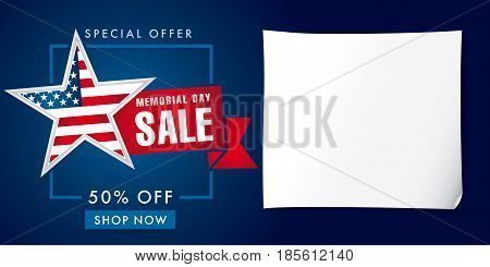 Memorial Day Sale discount labels for web banner special offer vector illustration. Memorial day sale banner template