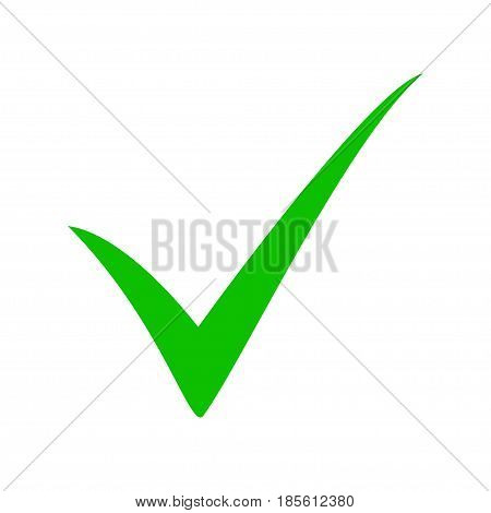 Green tick. Green check mark. Tick symbol, icon, sign in green color. Done. Stock vector illustration
