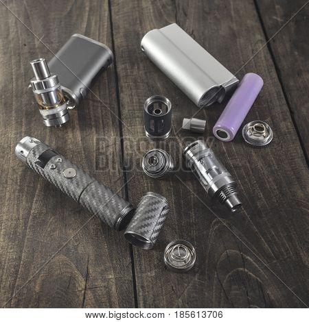 Advanced vaping device e-cigarette on the table