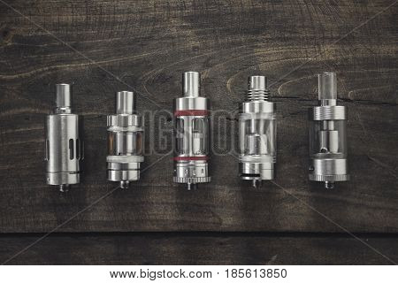 Electronic cigarette Atomizers in close up, health concept