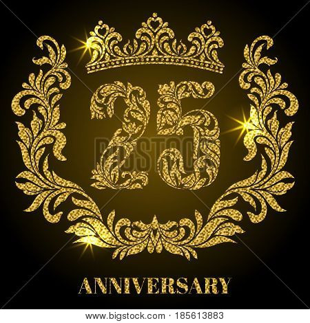Anniversary of 25 years. Digits, frame and crown made in swirls and floral elements with gold glitter and sparkle