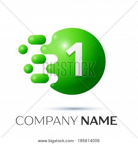 Number one splash logo. Green dots and bubbles number design on grey background. Vector Illustration