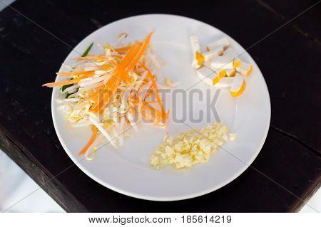 Pad Thai Ingredients On Plate