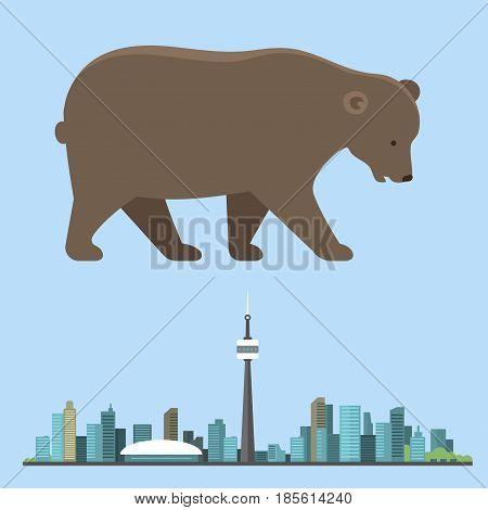Big brown bear isolated wildlife mammal nature funny portrait mascot caracter vector illustration. Cartoon zoo powerful strength canada travel character.