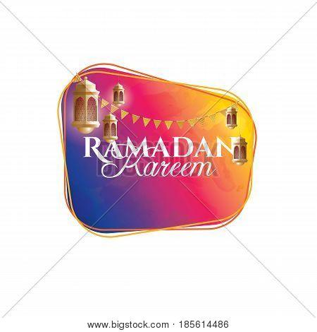 vector illustration of a lantern Fanus. the Muslim feast of the holy month of Ramadan Kareem. Translation from Arabic: Generous Ramadan