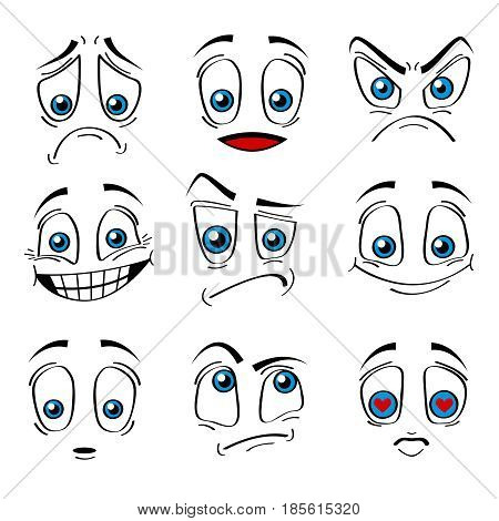 Comic Style Faces Emotions Expression Set Happy, Sad, Love and Anger Isolated on a White Background. Vector illustration