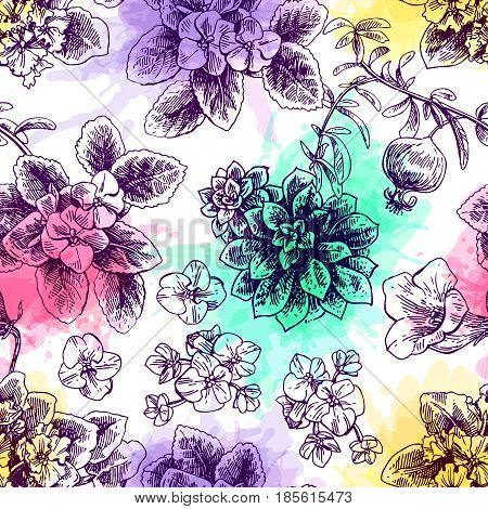 Hand drawn vector seamless pattern with houseplants. Us for skrapbuking, tissue, textile, cloth, fabric, web material