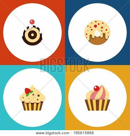 Flat Cake Set Of Confectionery, Sweetmeat, Pastry And Other Vector Objects. Also Includes Pastry, Cake, Confectionery Elements.