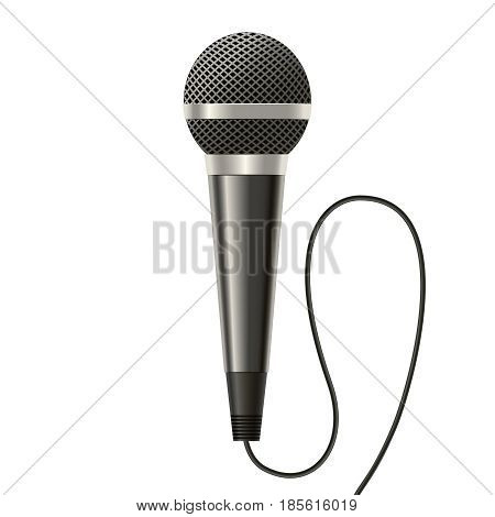 Realistic Detailed Modern Metal Microphone witch Mesh and Cable Isolated on a White Background . Vector illustration