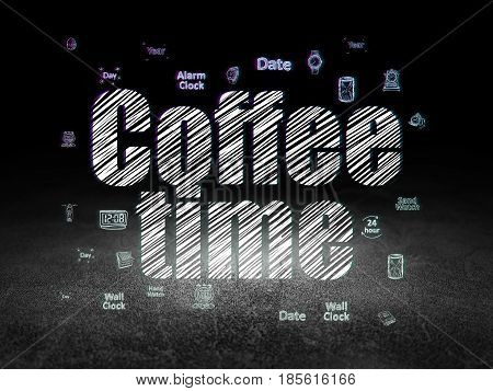 Time concept: Glowing text Coffee Time,  Hand Drawing Time Icons in grunge dark room with Dirty Floor, black background