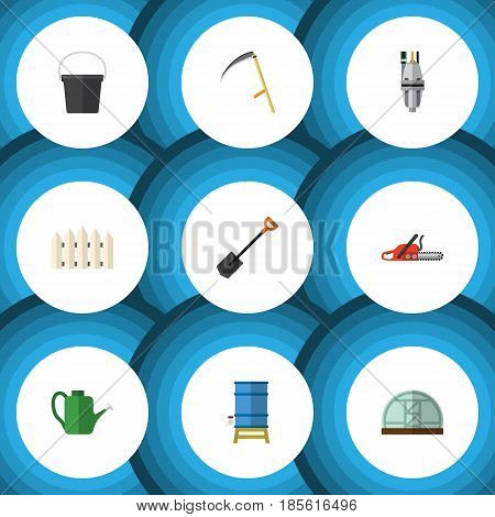 Flat Farm Set Of Hacksaw, Cutter, Pail And Other Vector Objects. Also Includes Shovel, Greenhouse, Saw Elements.