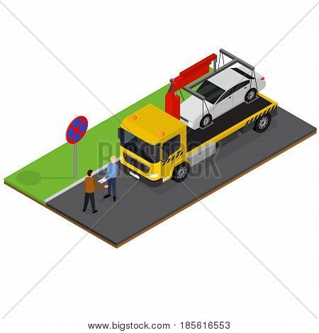 Tow Truck Isometric View Auto Car Service Repair and Transportation Crash or Accident. Vector illustration