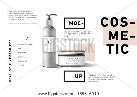 Realistic white cosmetic cream container and tube for cream, ointment, toothpaste, lotion Mock up bottle. Gel, powder, balsam, with design label. Soap pump. Containers for bulk mixtures.