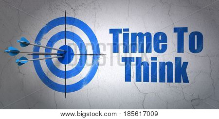 Success time concept: arrows hitting the center of target, Blue Time To Think on wall background, 3D rendering